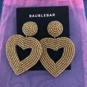 Baublebar Gold Beaded Heart Earrings New